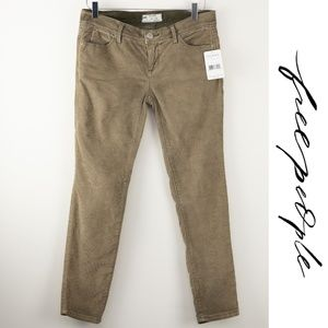 Free People Cropped Cords Olive Pants 26 NWT